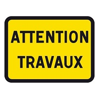 panneau attention travaux